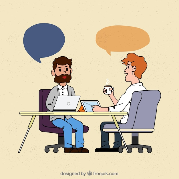 Hand drawn business meeting Free Vector