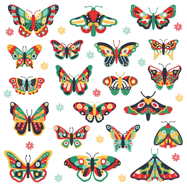 Hand drawn butterflies. doodle colorful flying butterfly, cute drawing insects. flower spring papillon  illustration icons set. butterfly insect drawing, floral pattern on wing Premium Vector
