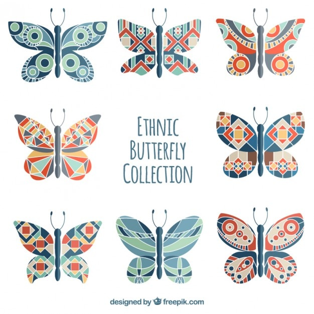 Hand drawn butterflies with colored geometric shapes Vector ...