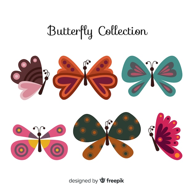 Collezione di farfalle disegnate a mano Vettore gratuito