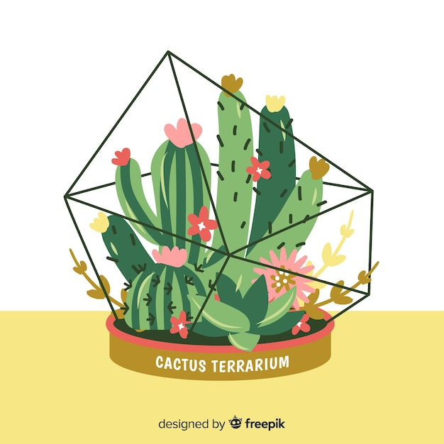 Hand drawn cactus background Free Vector