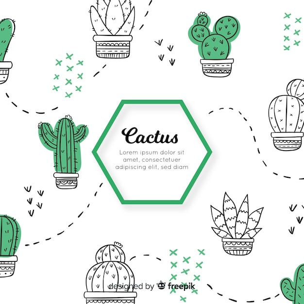 Hand drawn cactus doodle background Free Vector