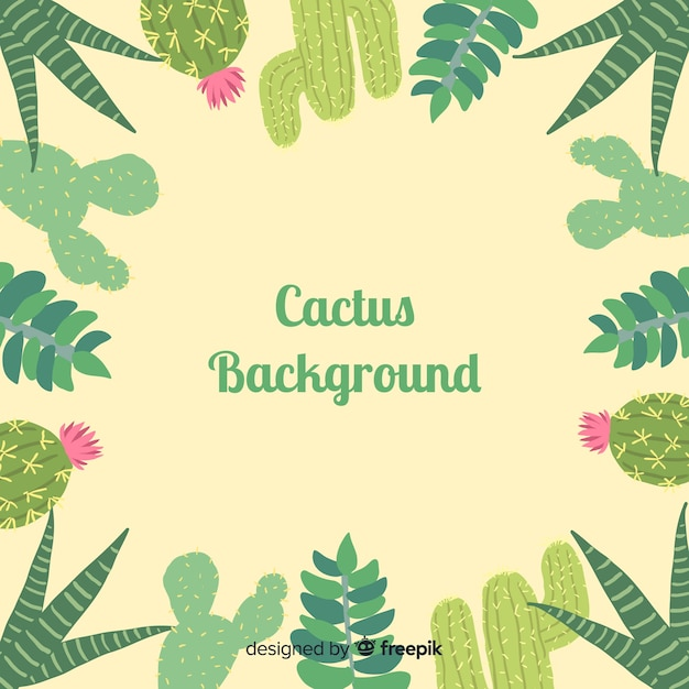 Hand drawn cactus frame background Free Vector