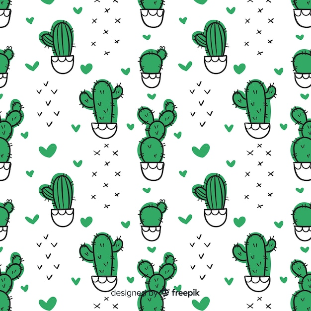Hand drawn cactus and hearts pattern Free Vector
