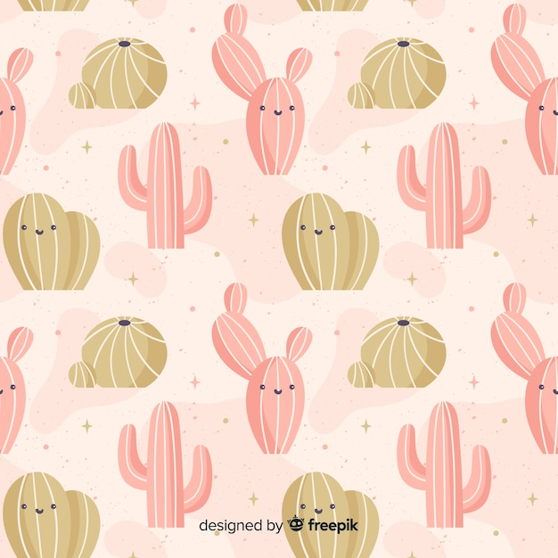 Hand drawn cactus pattern background Free Vector