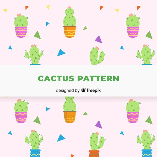 Hand drawn cactus pattern Free Vector