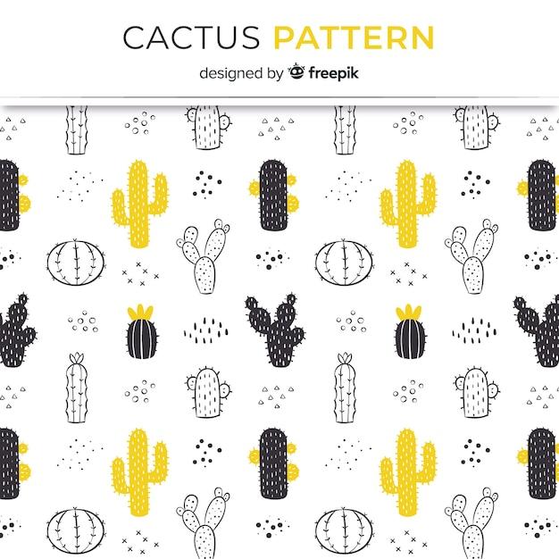 Hand drawn cactus pattern Premium Vector