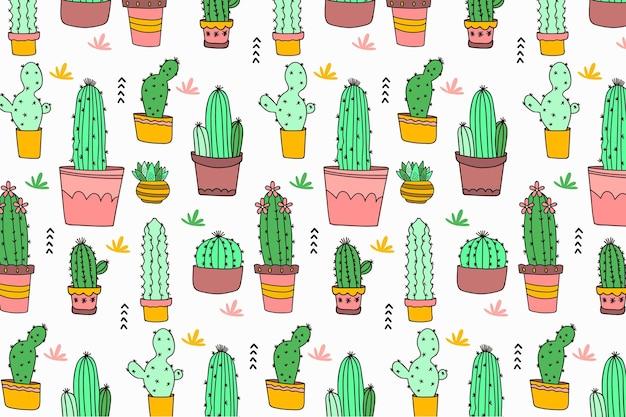 Modello cactus disegnato a mano Vettore gratuito