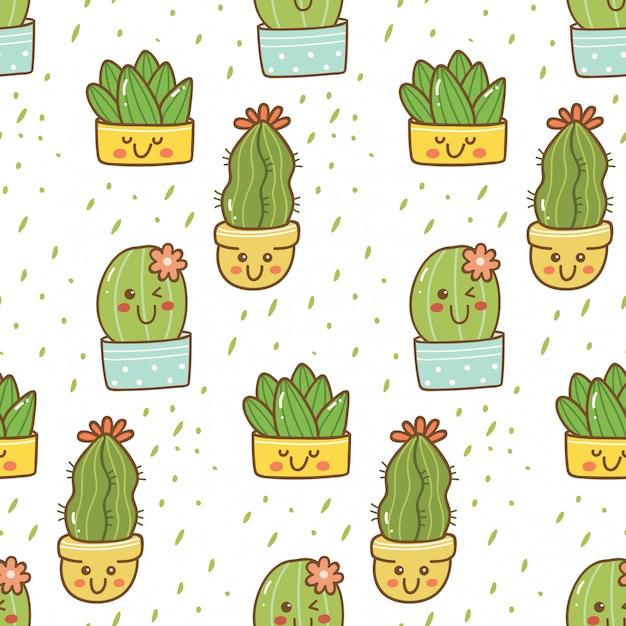 Hand drawn cactus seamless pattern Premium Vector