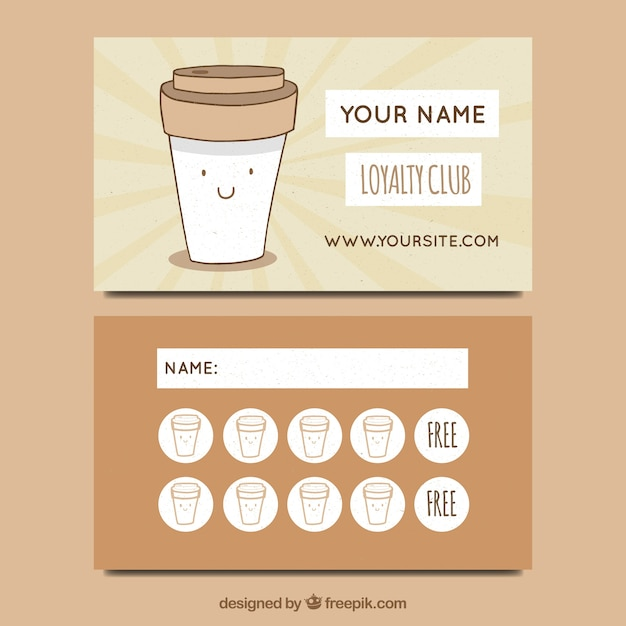 hand drawn cafe loyalty card template vector free download. Black Bedroom Furniture Sets. Home Design Ideas