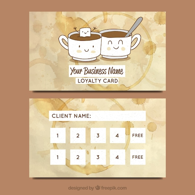 Hand Drawn Cafe Loyalty Card Template Vector Free Download - Business loyalty card template