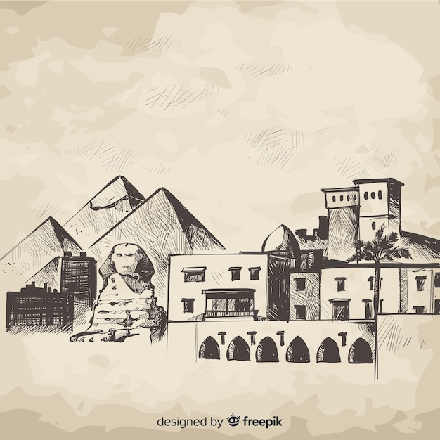 Hand drawn cairo skyline composition Free Vector