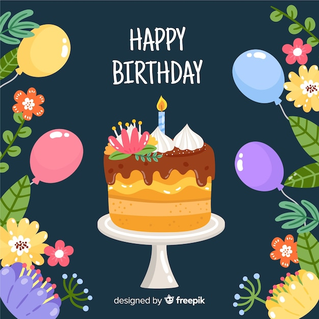 Hand drawn cake with flowers  birthday background Free Vector