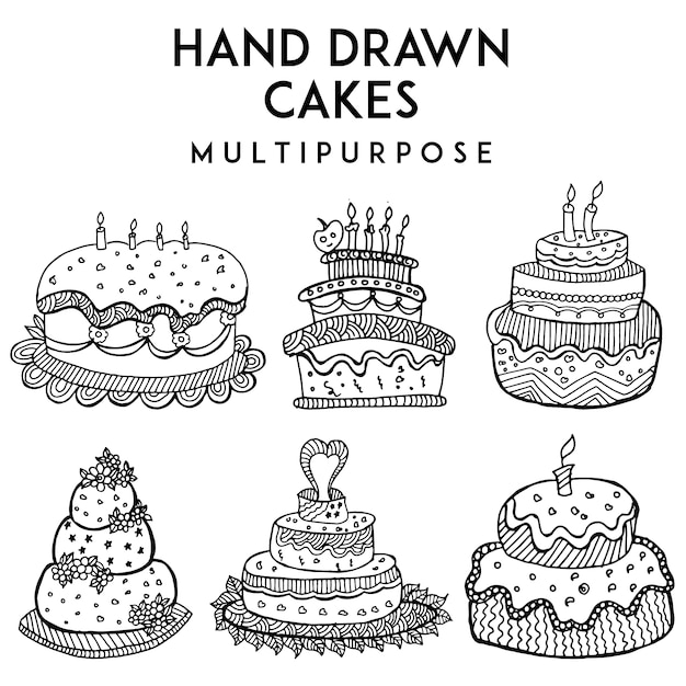 Hand Drawn Cakes Collection Vector Free Download