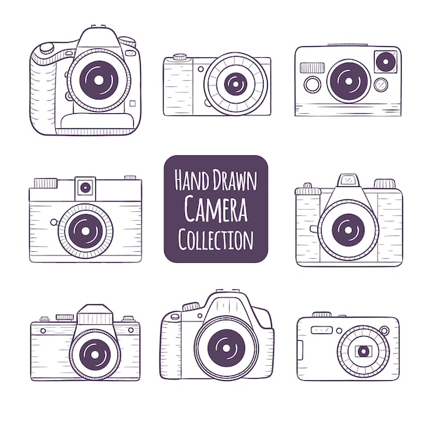 Hand Drawn Camera Collection Vector Free Download