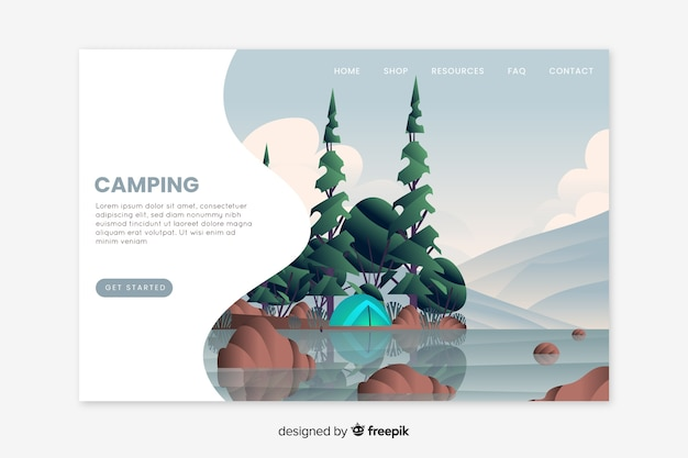 Hand drawn camping landing page template Free Vector