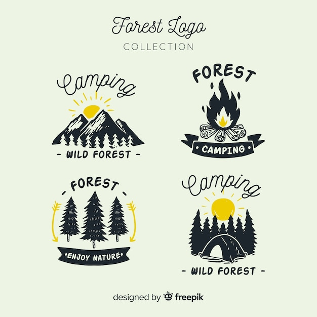 Hand drawn camping logo collection Free Vector