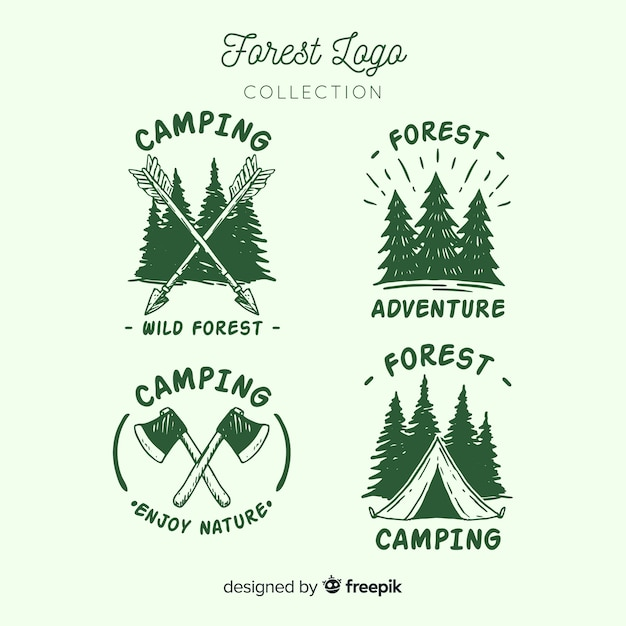 Hand drawn camping logo collection Premium Vector