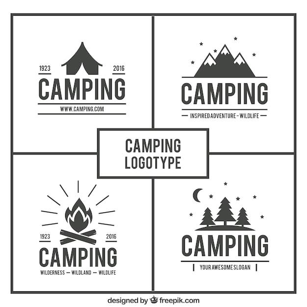 手描きキャンプのロゴパック Premiumベクター