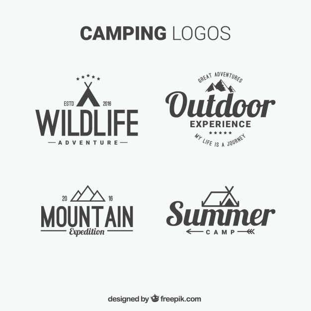 Hand drawn camping logos with typography