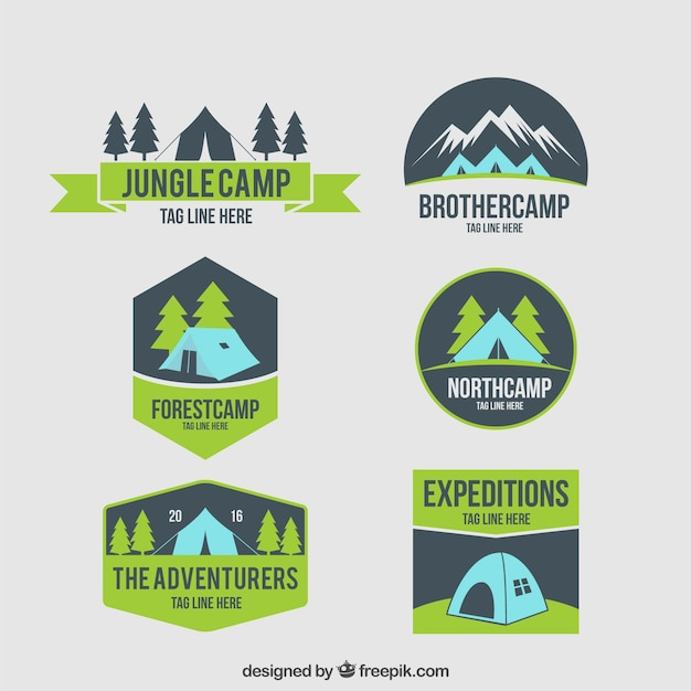 Hand drawn camping tent badges
