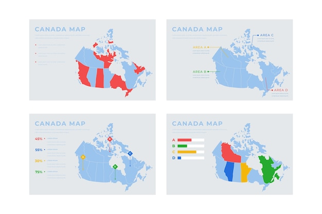 Hand-drawn canada map infographic Free Vector
