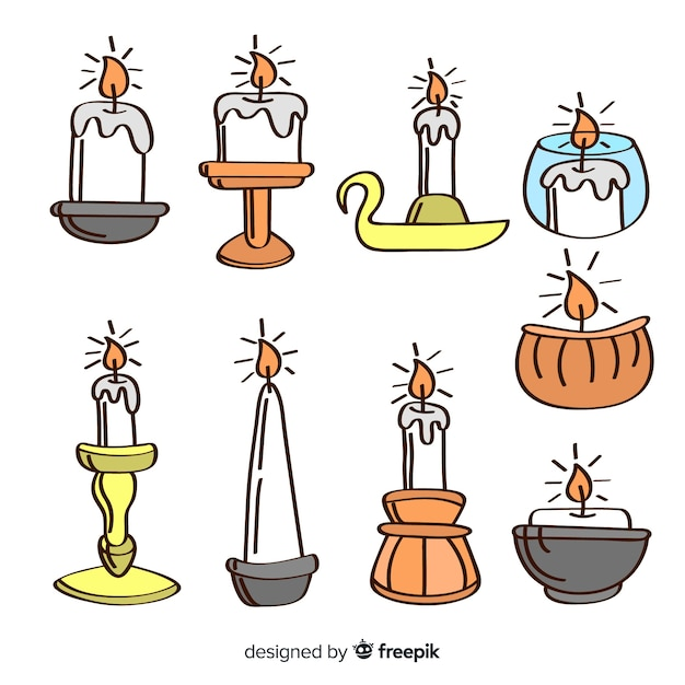 Hand drawn candle collection Free Vector