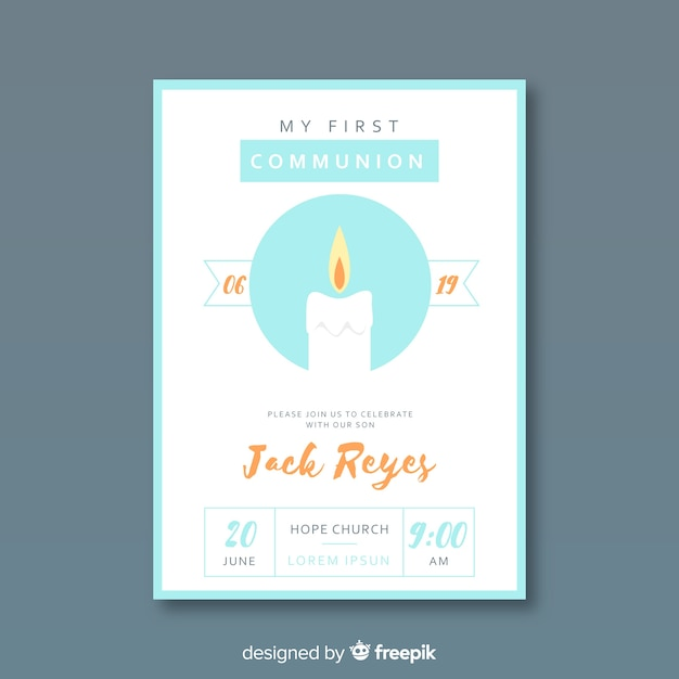 Hand drawn candle first communion invitation Free Vector