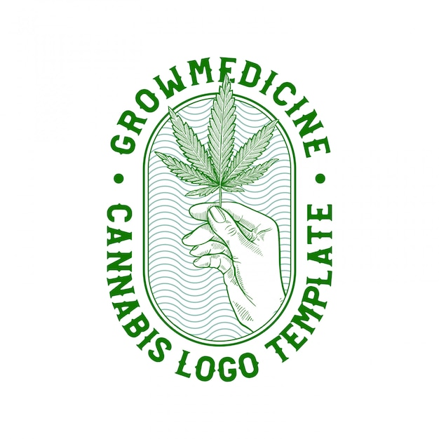 Hand drawn cannabis badge Premium Vector