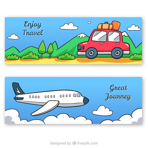 Hand drawn car and airplane travel\ banners