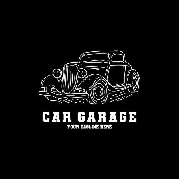 Premium Vector Hand Drawn Car Garage Logo Design