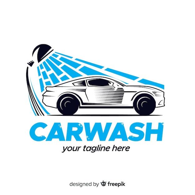 Hand drawn car wash logo background Free Vector