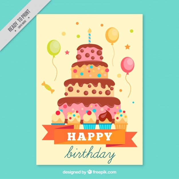 Hand drawn card with a big birthday cake Vector Free Download