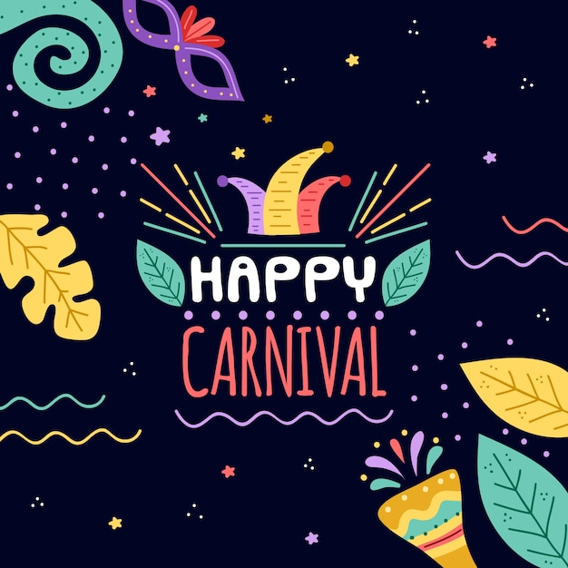 Hand drawn carnival concept with greeting Free Vector