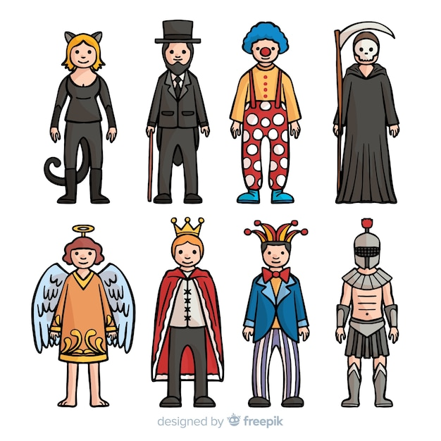 Hand drawn carnival costume collection Free Vector