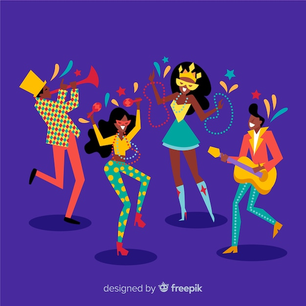 Hand drawn carnival dancer collection Free Vector