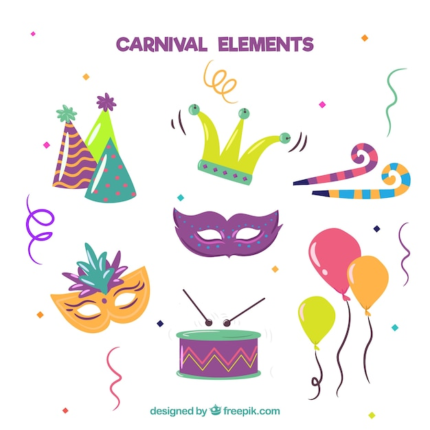 Hand drawn carnival elements collection Free Vector