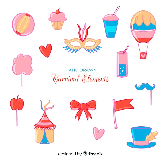Hand drawn carnival elements set Free Vector