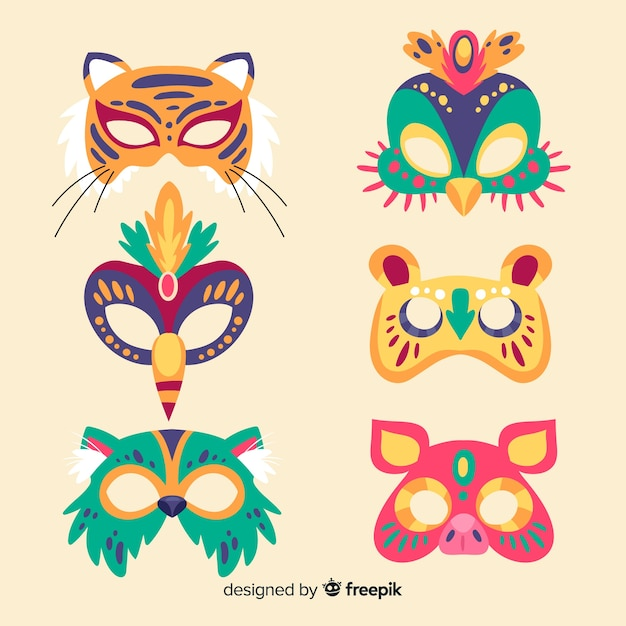 Hand drawn carnival mask collection Free Vector