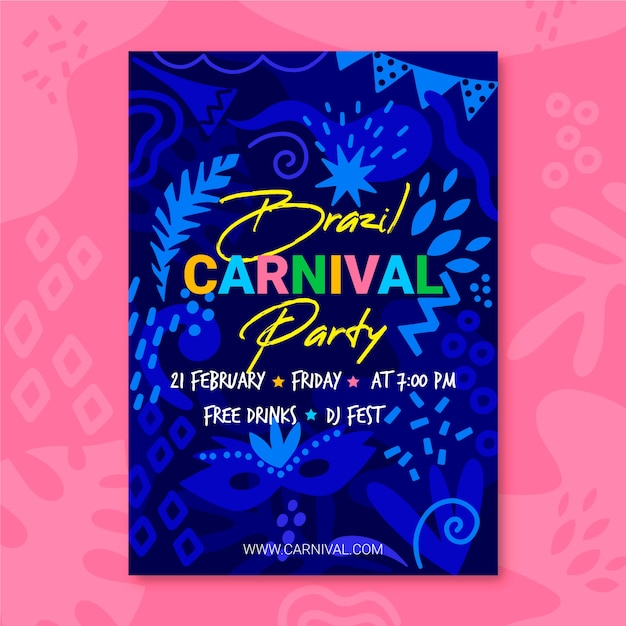 Hand drawn carnival party flyer Free Vector