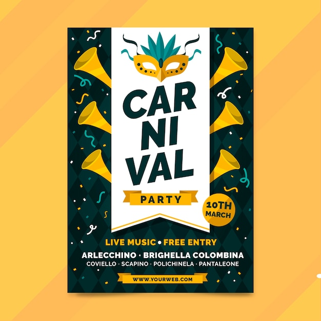 Hand drawn carnival party poster template Free Vector