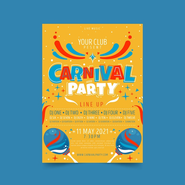 Hand drawn carnival party poster with maracas Free Vector