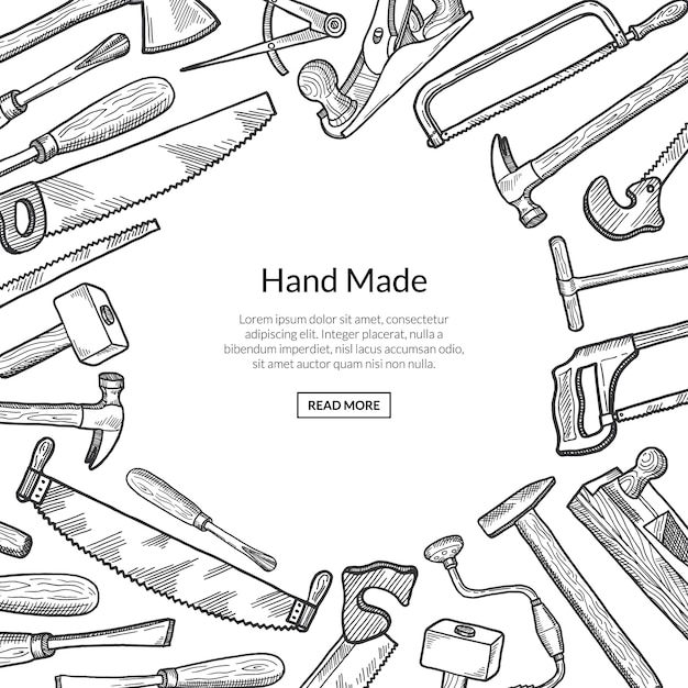 Hand drawn carpentry elements  illustration Premium Vector