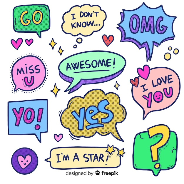 Hand drawn cartoon chat bubbles with variety of messages Free Vector