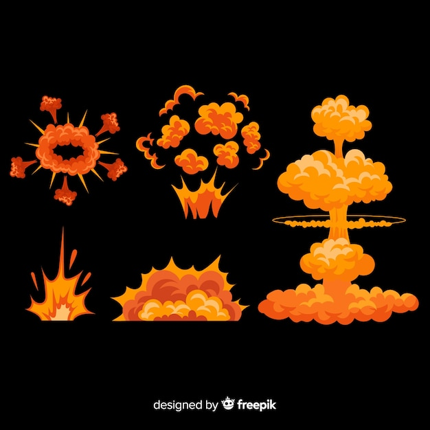 Hand drawn cartoon explosion effect collection Free Vector