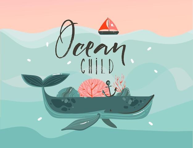 파도, 항해, 일몰 장면 및 바다 어린이 견적에 아름다움 고래와 손으로 그린 만화 그림 프리미엄 벡터