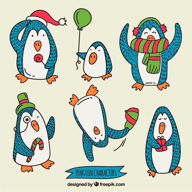 Hand drawn cartoon penguins christmas