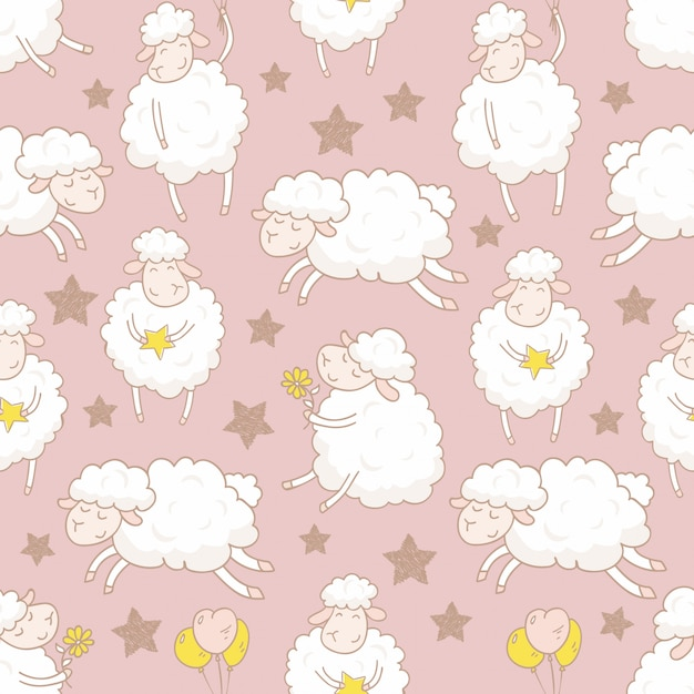 Hand drawn cartoon sheep seamless pattern Premium Vector
