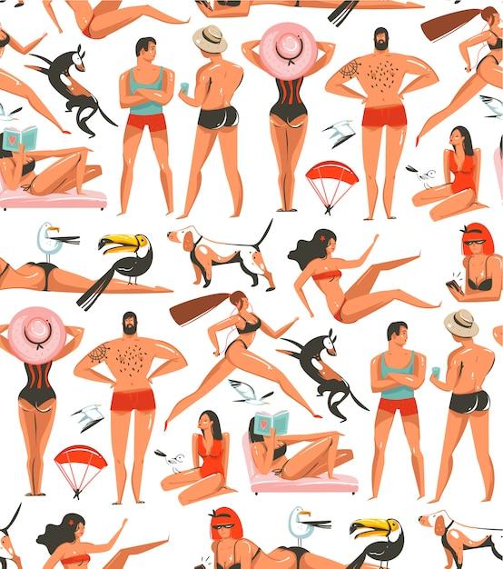 手描き漫画夏時間イラストリラックスした人々、ビーチの鳥、犬、白い背景の上のビーチで女の子を実行している美しさと芸術的なシームレスパターン Premiumベクター