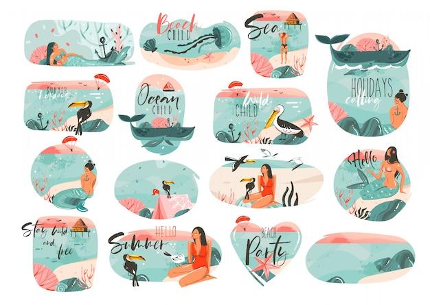 手描き漫画夏時間イラストサインガール、人魚、キャンプテント、オオハシ鳥、タイポグラフィの引用が白い背景の大きなコレクションセット Premiumベクター